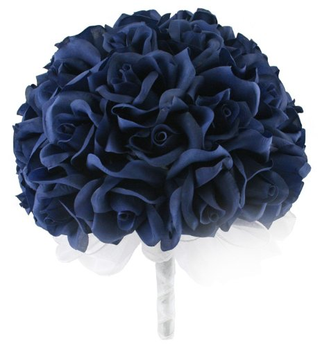Navy-Blue-Silk-Rose-Hand-Tie-36-Roses-Silk-Bridal-Wedding-Bouquet