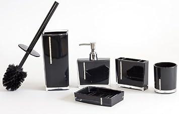 Set per bagno con strass (composto da 5 pezzi: dispenser di sapone ...