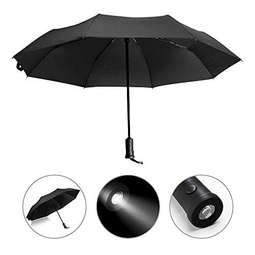 Price comparison product image Shangdongpu Windproof Automatic Umbrella with 180° Rotating LED Light, Travel Umbrella with Auto Open and Close