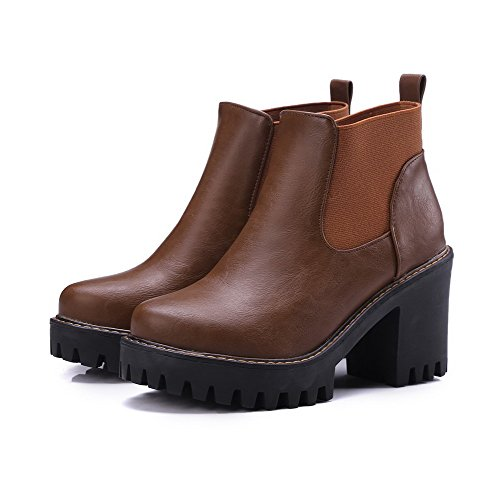 Material Soft AllhqFashion Ankle Heels Toe Womens High Boots Brown High Closed Pull On Round fqwZYx6wX