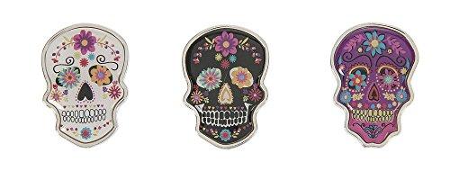 Ganz Black with Pink Flowers Halloween Sugar Skull Charm - S