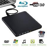 External Blu Ray Drive 3D,External Blu-ray Reader - Supports BDXL/BD/DVD/CD -6x Slim Portable USB 3.0 Blu-Ray DVD Player for Mac OS Windows7/8/10 PC Plug and Play No Need Install Driver