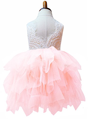 2Bunnies Girl Baby Girl Beaded Backless Peony Lace Back A-Line Tutu Tulle Party Flower Girl Dress 6M-10Y
