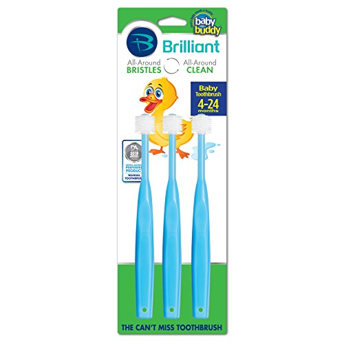 Brilliant Baby Toothbrush by Baby Buddy - for Ages 4-24 Months, BPA Free Super-Fine Micro Bristles Clean All-Around Mouth, Kids Love Them, Blue, 3 Count (Dinosaur With Nose On Top Of Head)