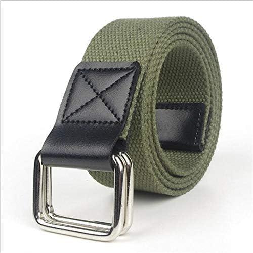 ZHYAODAI Mode L/ässige M/änner G/ürtel Legierung Double Ring Schnalle Pu-Canvas G/ürtel Luxus Designer Jeans F/ür Frauen Riemen