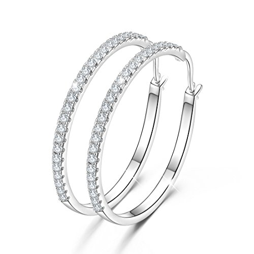 GDDX 925 Sterling Silver Hoops Big Round Loops Earrings Paved Zircon Halo CZ Women Ear Jewelry (Hoop Earring) ()