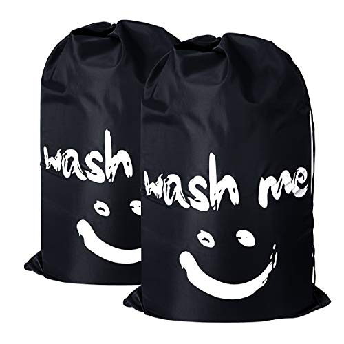 2 Pack Extra Large Travel Laundry Bag Set Nylon Rip-stop Dirty Storage Bag Machine Washable Drawstring Closure 24 x 36 (Black and black)