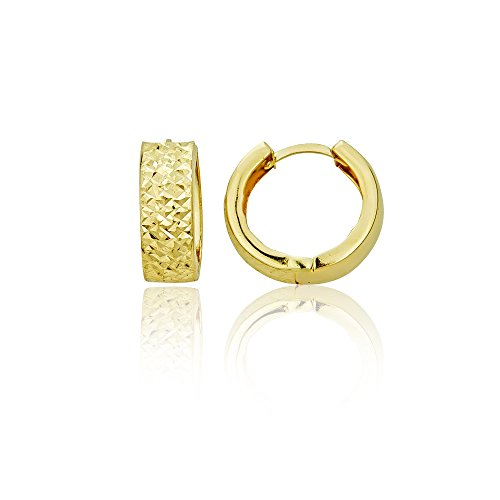 14K Yellow Gold Diamond Cut 5.50x15.00mm Huggie Earring