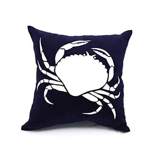 crab throw pillow cover navy