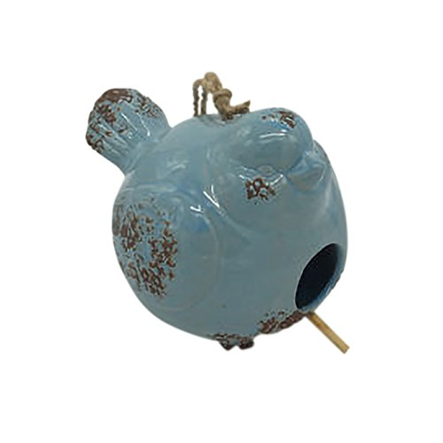 Ceramic Birdhouses - Drew DeRose Distressed Blue Bird Shaped 8 x 6 Ceramic Birdhouse With Twine Hanger