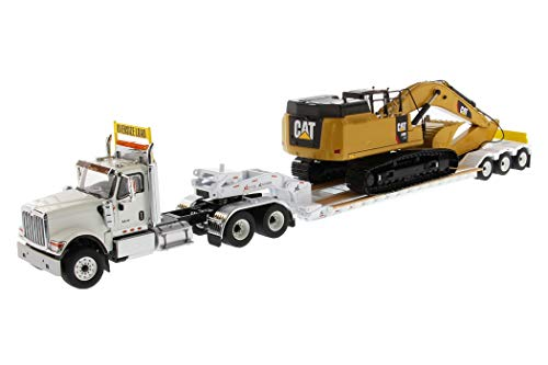 International HX520 Tandem Tractor White with XL 120 Lowboy Trailer and CAT Caterpillar 349F L XE Hydraulic Excavator Set of 2 Pieces 1/50 Diecast Models by Diecast Masters 85600