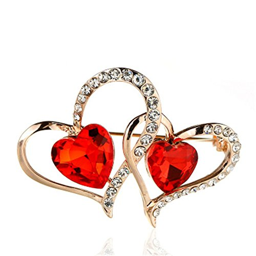 Hosaire Cupid Double Love Heart Crystal Ruby Brooch Romantic Fashion Brooch Pin Pendant