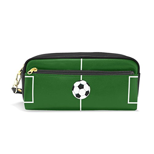 LEISISI Football Field School Pencil Bag PU Leather Stationery Pouch Case Women Cosmetic Bag Large Capacity