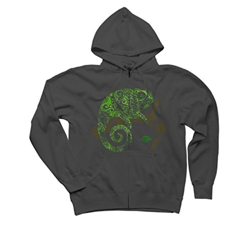 Swirly Chameleon Men's Large Charcoal Graphic Zip Hoodie - Design By Humans