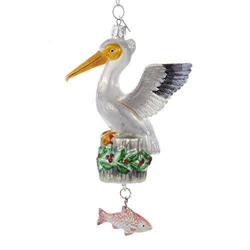 Kurt Adler Glass Noble Gems 5 Inch Pelican With Dangle Fish Ornament -