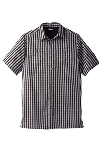 KingSize Men's Big & Tall Short-Sleeve Plaid Sport Shirt, Black Check Tall-2Xl 2 Pocket Button