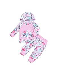 Oldeagle Newborn Infant Baby Girls Long Sleeve Floral Hoodie Top+Pants 2PCs Outfits Set Black