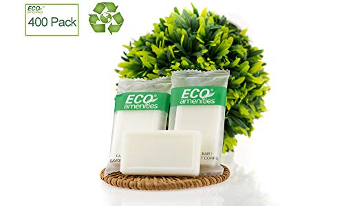 (ECO AMENITIES Travel size 0.5oz hotel soap in bulk, White, Green Tea, 400)