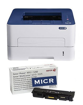 RT MICR Check Printing Package Xerox 3260DI Printer and 1 Genuine OEM MICR Toner Cartridge (Starter Yield 500 pages) for Printing Business and Personal Checks