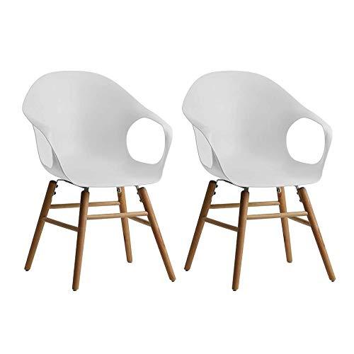Conjunto Com 2 Cadeiras Beni Jade Com Bracos Branco