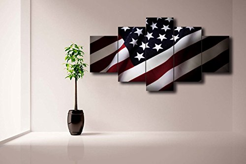 5 Panel Black White Red Navy Blue Canvas Print American Flag Wall Art Painting Posters and Prints Pictures for Living Room Home Decor Gallery-wrapped Set Framed Hooks Ready to Hang(60''Wx32''H) - Venetian Wall Art