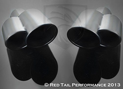 (Black Powder Coated Exhaust Tip Dual Fused Oval Rolled Edge Porsche Turbo Style (Left and Right Side) 2.25