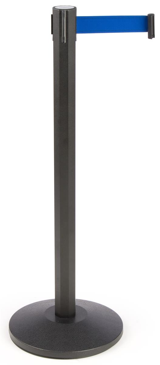 Crowd Control Pole - Deluxe 40.25'' Octagonal Pole with 9'-7'' Royal Blue Woven Nylon Belt - Matte Black Powder-Coated Anodized Aluminum Construction w/ weighted base - Retractable Stanchion