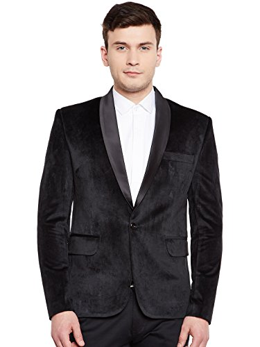 WINTAGE Men's Premium Velvet Notch Lapel Tuxedo Coat Blazer Jacket: Black, M ()