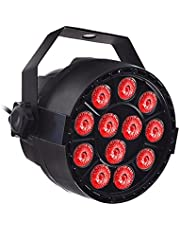 Stage Light, AC110V 18W 12 * 3 in 1 RGB LED Stage Par Light Fixture Supported DMX512/ Sound Activated/Auto-Run/Master-Slave Control 7CH Flash/Strobe/Jump Effects for Home Party Decoration