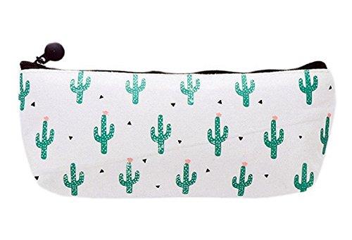Hosaire Pencil Case Canvas Elegant Cute Cactus Pen Case Stationery Pouch Bag Case Cosmetic Bags