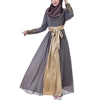 Aivtalk Women Muslim Floral Chiffon Long Sleeves Maxi Abaya Party Dress
