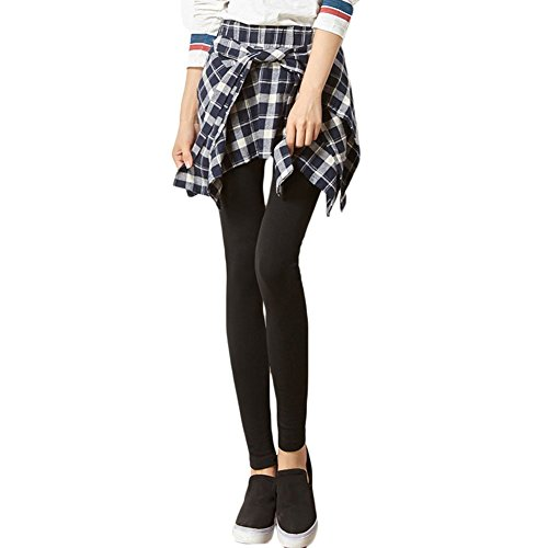 Asher Women Inset Tied Over Plaid Checkered Shirt Around Waist Skirt Leggings (One Size, Blue)