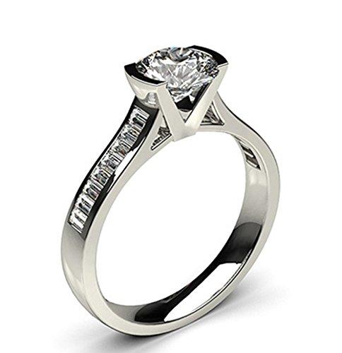 18K White Gold (HallMarked), Round Cut Semi Bezel Setting Large Side White Diamond Engagement Wedding Ring Size - 8.5