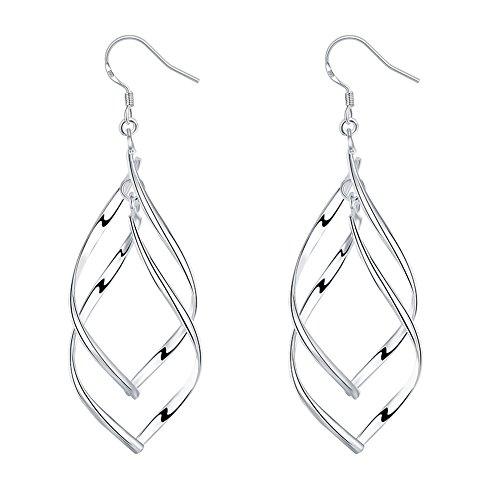 Double Teardrop Earrings - Women Double Twisted Dangle Earrings, Silver Plated Drop Earrings, Heart Filigree Teardrop Earrings (Twist Wire)