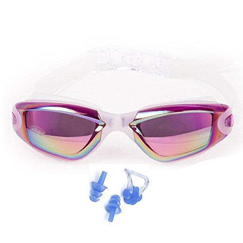 Unisex Anti-fog Competition Swimming Goggles(Purple) - 8