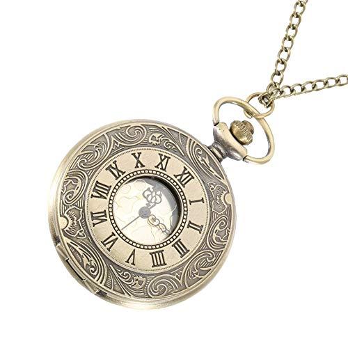 ZJZ Antik vintage romerska nummer kvarts fickur runt fodral hänge halsband kedja klocka presenter