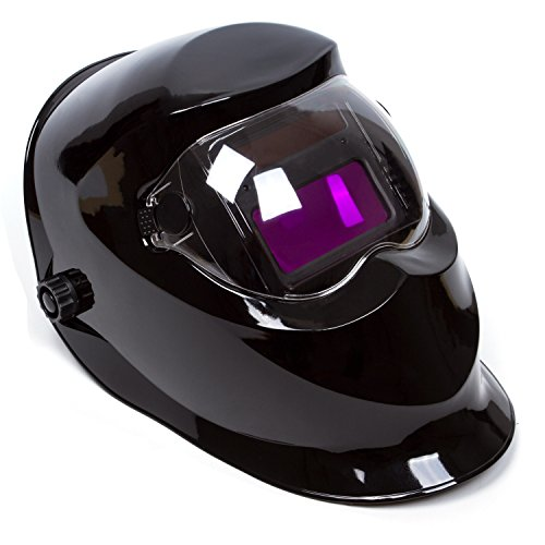 Holulo Welding Helmet Solar Power Auto Darkening Wide Viewing Field Professional Hood for MIG TIG ARC Cap Mask (Shiny black)