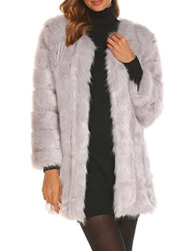 Soteer Women's Dressy Faux Fur Coat Winter Warm Vintage Thick Fox Fur Jacket Outerwear Grey S by Soteer