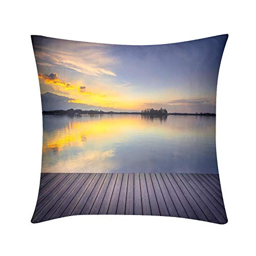 HooMore Luxury Custom Art Design Photos Throw Pillow Patio View Over Lake at Sunset Ready for Product Montage High End Quality, High Printing Accuracy, Dust Mite Resistant
