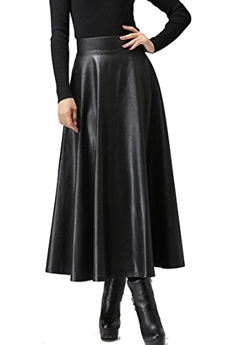 (Zeagoo Women Winter Synthetic Leather High Waist Midi Maxi Long Skirt ,Black,Small)