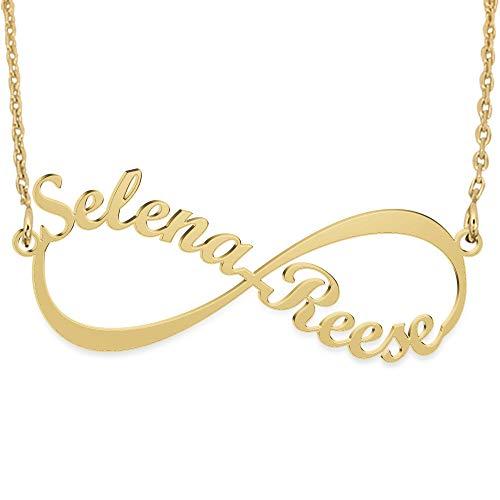 Joelle Jewelry Design Sterling Silver Infinity Necklace 18K Gold Plated Custom Infinity Necklace with Names Personalized Gift for Lover (Names For Two Best Friends)