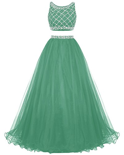 Party Dress Prom Bridesmay Two Long Beaded Bridesmaid Piece Dress Dress Tulle Green aq71Z