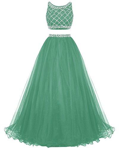 Vestito A Pezzi Di Da Promenade Tulle Lungo Vestito Da Due Perline Damigella Partito Del Bridesmay Di Verde Del D'onore dxpwYq8d