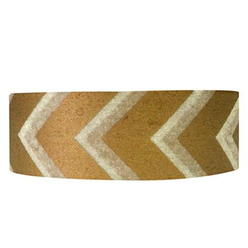 Wrapables Striped Japanese Washi Masking Tape, Gold Arrow