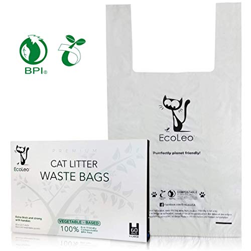 Bio Bag Biodegradable Compostable - EcoLeo - Cat Litter Waste Bags - New Larger Size, X-Large, Certified Compostable, Biodegradable, Thick, Leak Proof, Pet/Dog Poop Bags with Easy-Tie Handles,10.5 x 18.5 inch, 60 Count
