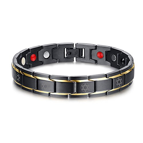 VNOX Elegant Two-Tone Stainless Steel 4 in 1 Star of David Magnetic Theraphy Adjustble Link Bracelet