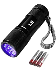 LE Ultra Violet LED Flashlight Blacklight, UV LED Flashlight, 9 LED 395nm, Pet Urine Stain Detector, 3 AAA Batteries Included, Find Stains on Clothes, Carpet or Rugs