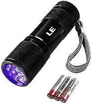 LE Ultra Violet LED Flashlight Blacklight, UV LED Flashlight, 9 LED 395nm, Pet Urine Stain Detector, 3 AAA Bat