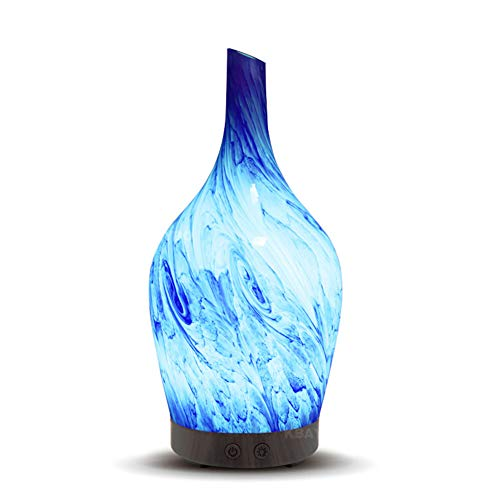 TOMNEW Glass Oil Diffuser 100ml Art Usltrasonic Essential Oil Aromatherpy Diffuser Humidifier 7 Color Led Light for Home Office Living Room Spa Yoga (XB20)