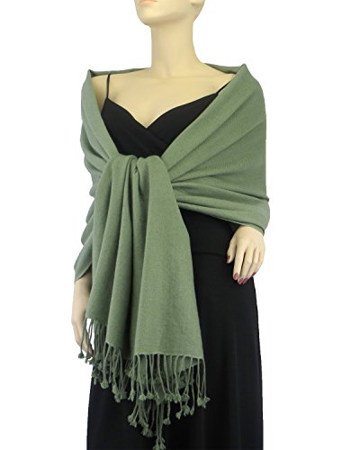 Pure Pashmina Wrap 3 Ply Sage Green